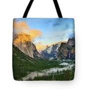 Clearing Storm - View Of Yosemite National Park From Tunnel View. Tote Bag