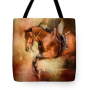 Clearing The Jump Equestrian Art Tote Bag