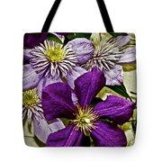 Purple Clematis Flower Vines Tote Bag