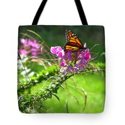 Cleomes And Butterfly Tote Bag