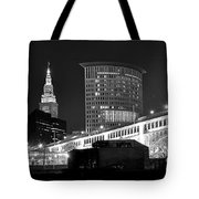 Cleveland Black And White Panoramic Tote Bag