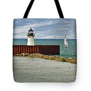 Cleveland Harbor Small Lighthouse Tote Bag
