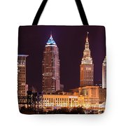 Cleveland Skyline Night Color - Downtown Buildings Tote Bag