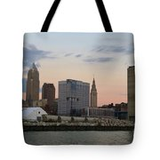 Cleveland Skyline And Port On The Cuyahoga River Tote Bag