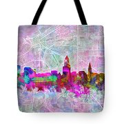 Cleveland Skyline Watercolor Tote Bag