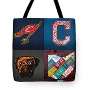 Cleveland Sports Fan Recycled Vintage Ohio License Plate Art Cavaliers Indians Browns And State Map Tote Bag