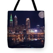 Cleveland With Full Moon Tote Bag
