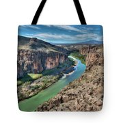 Cliff View Of Big Bend Texas National Park And Rio Grande  Tote Bag