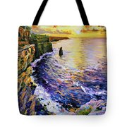 Cliffs Of Moher At Sunset Tote Bag by Conor McGuire