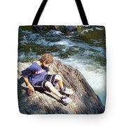 Climbing Over Rapids Tote Bag