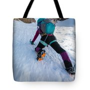 Climbing The North Coulior On Mcgown Peak Tote Bag
