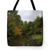 Clinton River In Autumn Cloudy Day Tote Bag