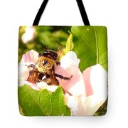 Close Up Bumble Bee Climbing Out Of Hibiscus Flower Tote Bag