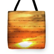 Close-up Of Barbed Wire At Sunset  Tote Bag