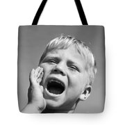 Close-up Of Boy Shouting, C.1950s Tote Bag