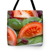 Close Up Of Fresh Spinach Salad On White Plate  Tote Bag