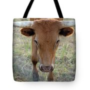Close Up Of Longhorn Head Through Fence Tote Bag