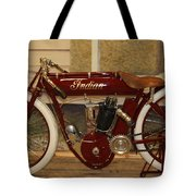 close up of red Indian motorcycle   # Tote Bag