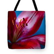 Close Up Of Red Lily Tote Bag