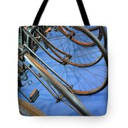 Close Up On Many Wheels From Bicycles  Tote Bag