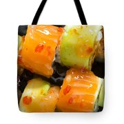 Close Up Sushi In Plate Tote Bag