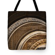 Close-up View Of Moorish Arches In The Alhambra Palace In Granad Tote Bag by David Smith