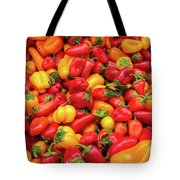 Close Up View Of Small Bell Peppers Of Various Colors Tote Bag