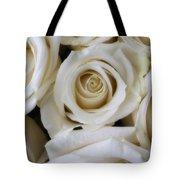 Close Up White Roses Tote Bag