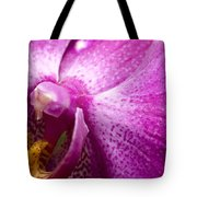 Close View Of A Pink Orchid Blossom Tote Bag