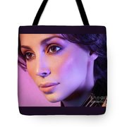 Closeup Beauty Portrait Of Woman Face In Colored Purple Light Tote Bag