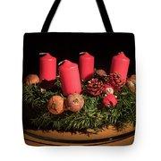 Closeup Of An Advent Wreath, Unlit Candles Tote Bag