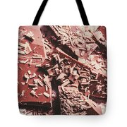 Closeup Of Chocolate Pieces And Shavings On Plate Tote Bag