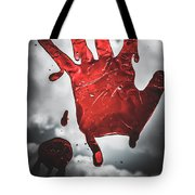 Closeup Of Scary Bloody Hand Print On Glass Tote Bag