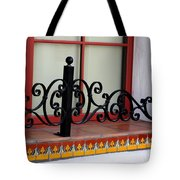 Closeup Of Window Decorated With Terracotta Tiles And Wrought Iron Photograph By Colleen Tote Bag
