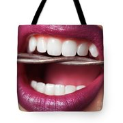 Closeup Of Woman's Mouth Biting On Barbed Wire Tote Bag