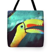 Closeup Portrait Of A Colorful And Exotic Toucan Bird Against Blue Background Nicaragua Tote Bag