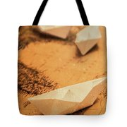 Closeup Toned Image Of Paper Boats On World Map Tote Bag