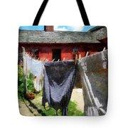 Clothes Hanging On Line Closeup Tote Bag