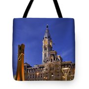 Clothespin And City Hall Tote Bag by John Greim