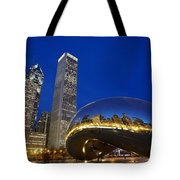 Cloud Gate The Bean Sculpture In Front Tote Bag