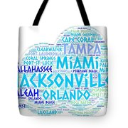 Cloud Illustrated With Cities Of Florida State Tote Bag