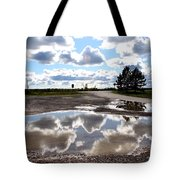 Cloud Reflection In Puddle Tote Bag
