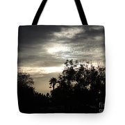 Clouds And Silhouetted Trees Tote Bag