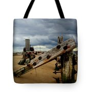 Clouds And Wooden Structure Tote Bag