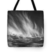 Clouds - Flame Shape - Black And White Tote Bag