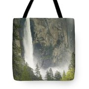 Clouds Hang Over Bridaveil Falls Tote Bag