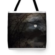 Clouds Passing The Snow Moon Tote Bag