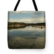 Clouds Reflecting In An Alpine Lake.  Tote Bag