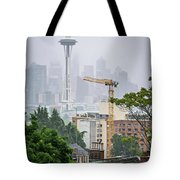 Cloudy And Foggy Day With Seattle Skyline Tote Bag