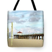 Cloudy Day In Manhattan Beach Tote Bag by Art Block Collections